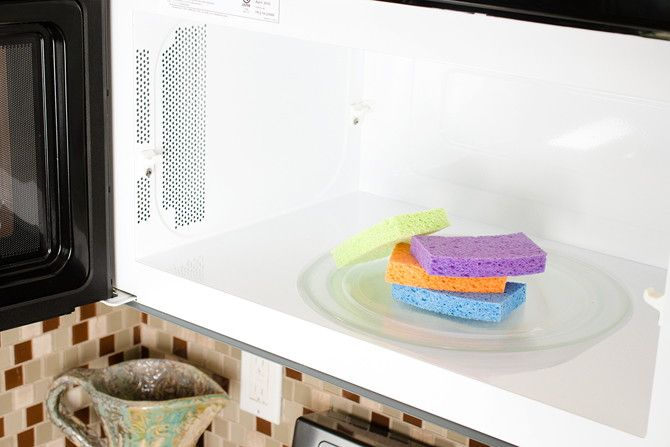 Dampen a dirty sponge and microwave it on high for 60 seconds to kill bacteria.