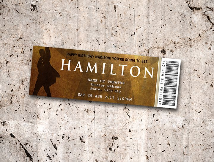 Collectible Theater Tickets Personalized Digital Printable Theater Tickets Hamilton Tickets Musical Tickets