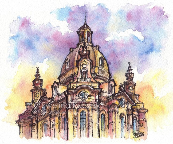 #dresden #germany #frauenkirche #church #architecture #building #ink #fineliners #watercolor #watercolorpencils #ewelinakuczera #fabercastell #albrechtdurerpencils #blue #violet #yellow #urbansketch #sketch painting #art #illustration