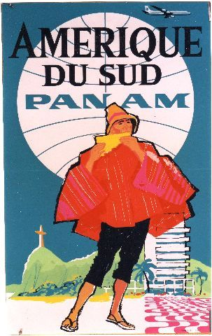 Pan Am Amérique du Sud - 1960 aviation vintage poster featuring native South American in red garb playing the flute in Rio de Janeiro with giant white Pan Am logo in the background