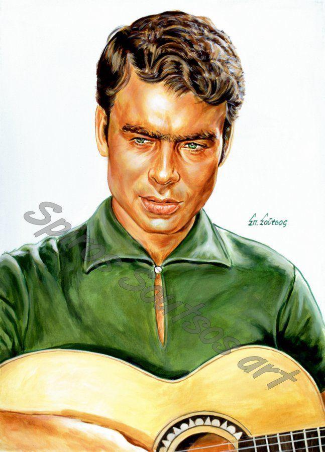 Γιάννης Πουλόπουλος πορτραίτο-αφίσα, αυθεντικός πίνακας ζωγραφικής,πόστερ