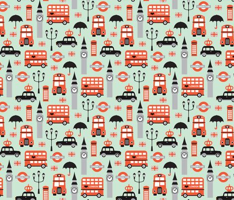 © Little Smilemakers Studio - Maaike Boot  Fun pastel color scheme travel theme. London icons with subway tube double decker bus black cab big ben and of course a very much needed umbrella for those british rainy days.