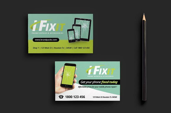 Phone Repair Business Card By Brandpacks On Graphiczn Mobile Iphone Android Templates Pinterest