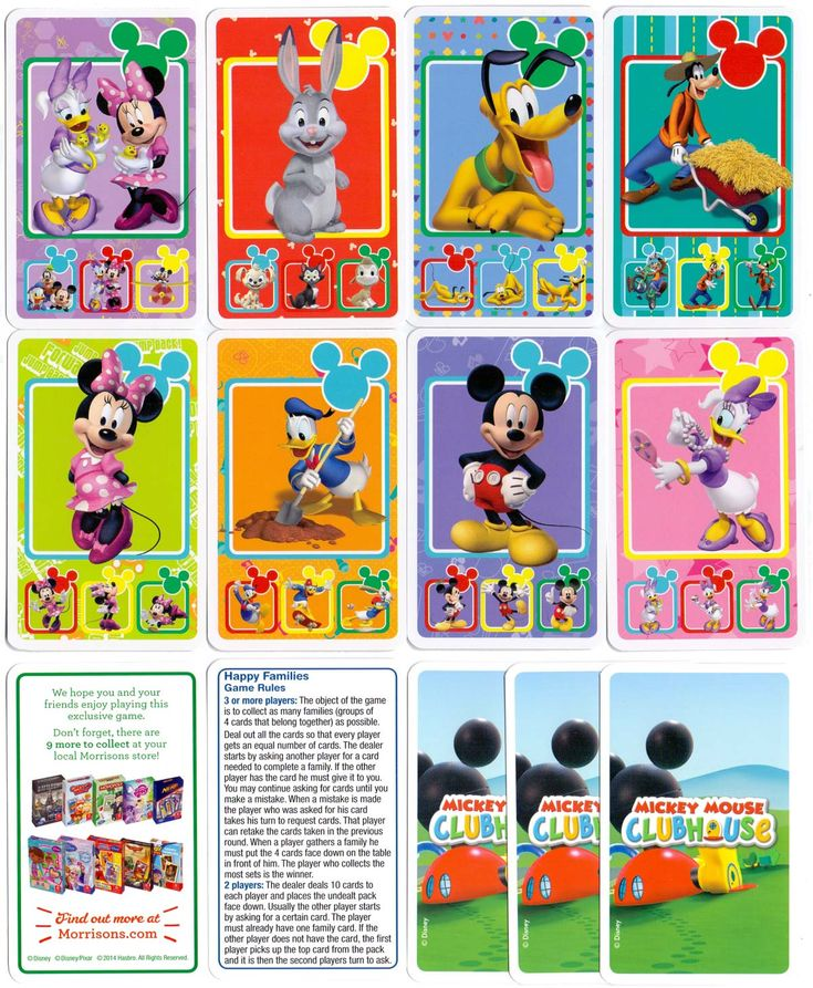 """Mickey Mouse Clubhouse"" Happy Families card game. All images ©Disney ©DisneyPixar ©2014 Hasbro"