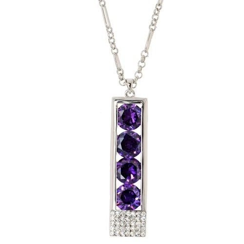 Squre Shaped Purple Crystal with Rhinestones Long Necklace