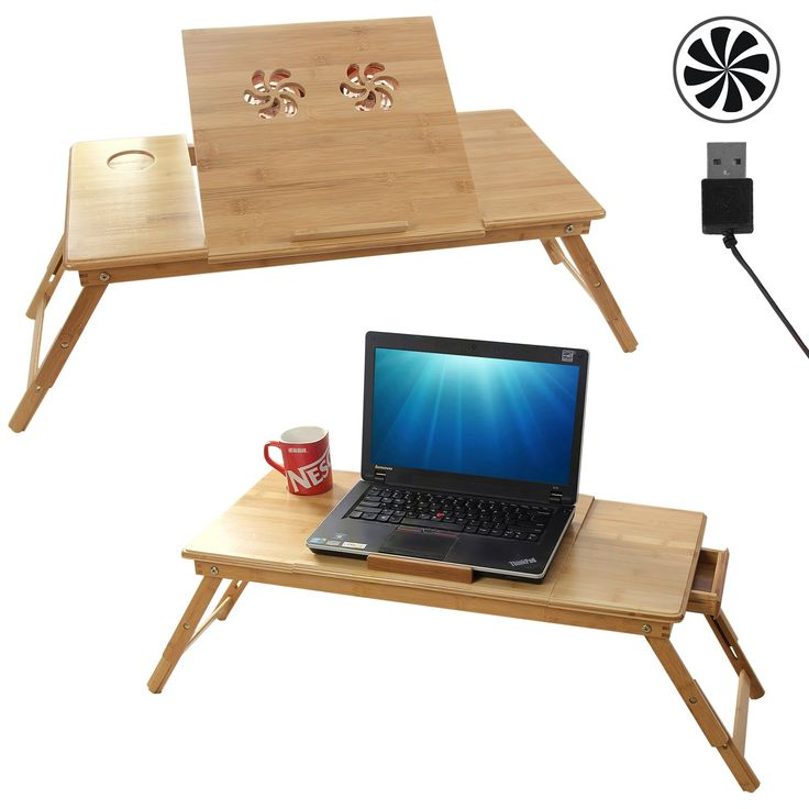 Songmics table de lit pliable en bambou pour pc ordinateur - Table de ventilation pour pc portable ...