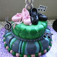 My daughters dance party cake to her request.....blue and green with ballet and jazz shoes !