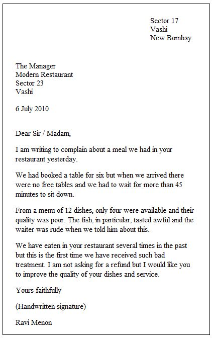 Example Of A Formal Letter Places To Visit Formal