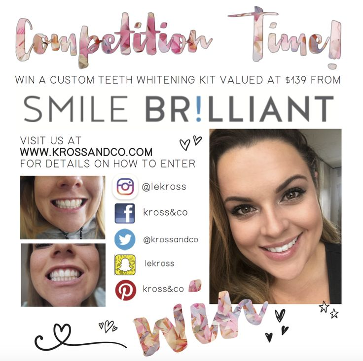 http://krossandco.com/?p=1518 Coffee ☕️ and Red Wine  lovers unite! I've found the key to continue your guilty little habits without sacrificing gleaming white teeth. AND Smile Brilliant are giving Kross&Co readers an exclusive opportunity to WIN you own custom teeth whitening set (valued at $139!)  Visit Kross&Co to enter!