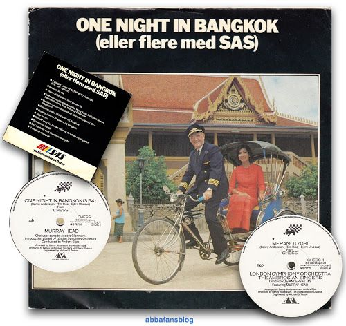 "This promotional version of ""One Night In Bangkok"" was produced by Scandinavian Airlines in Norway and used as gifts to their clients... #Abba #Vinyl #ChessTheMusical http://abbafansblog.blogspot.co.uk/2017/01/promo-chess-single.html"