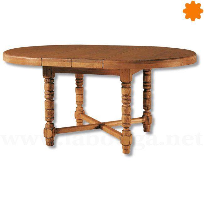 Mesa ovalada extensible de madera de pino estilo clásico