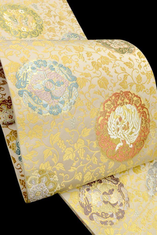 【植山織物(うえやま)】 特選西陣手織り全通本袋帯 「正倉院地鳳凰文様」