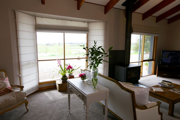 Luxaflex Beach Roman Shades (in Temple range, Soft Dove) - Episode 3, Bass VIC. Supplied by Olympic Blinds & Curtains, Edithvale VIC..