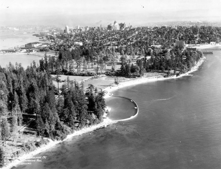 Second Beach pool, aerial view, Stanley Park, 1940's