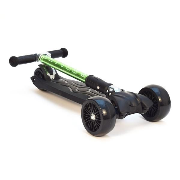 """3-Style Scooters RGS-3 Kick Scooter - Perspective View Folded Down. Stylish metallic colouring with etched 3-Style logo, large 2"""" wide-ride black wheels and robust easy-fold handlebars. Suitable for kids aged 3+ and heights 100cm+"""