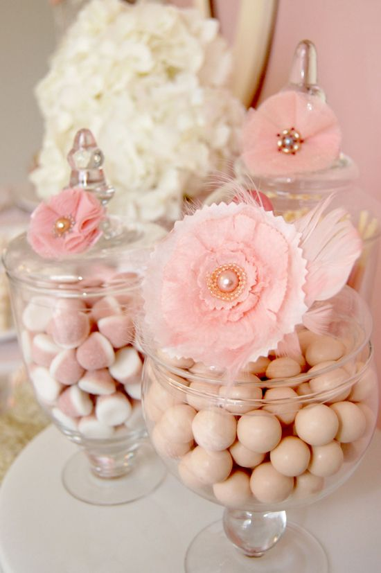 Pink Candy Jars: Shower Ideas, Candybar, Candy Buffet, Candy Bar, Apothecaries Jars, Flower, Candy Jars, Baby Shower