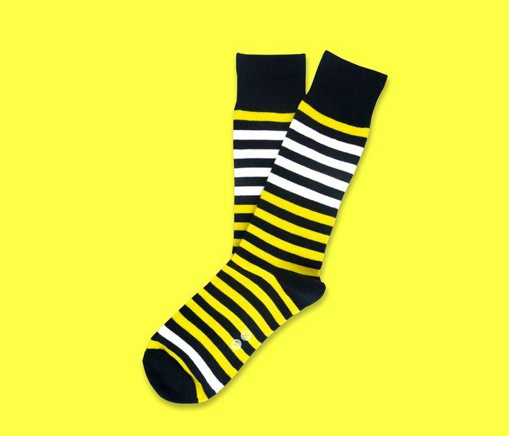 Yellow Stripe Socks Striped Socks. Mens Socks. Mens Dress