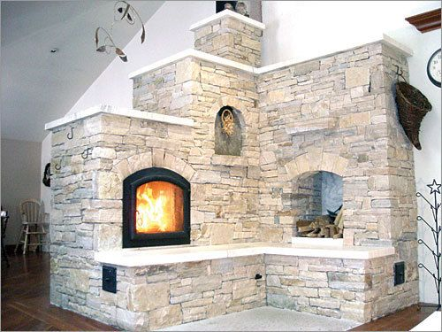 Bushway built this two-sided masonry heater, which has an L-shaped bench, in Hillsdale, N.Y.