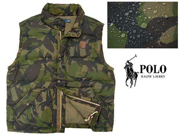 Polo by Ralph Lauren 牛革レザーパッチ付き 迷彩カモフラ柄 肉厚ダウンベスト/XL ブランド Polo by Ralph Lauren (ポロ by ラルフローレン) ラルフローレン(株) アメリカ・ニューヨークのファッションブランド。特に高級スーツやポロシャツなどのメンズウェアでその名を知られ、ブルックス・ブラザーズと並ぶアメリカン・トラディショナル(アメトラ)の代表的存在とされています。 コメント 『Polo by Ralph Lauren(ポロ・ラルフローレン)』より、ダウンベス