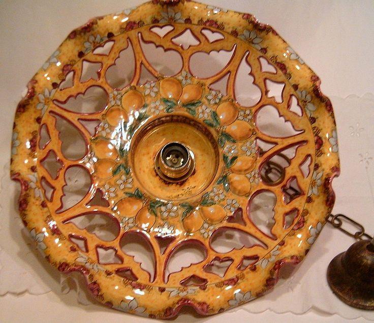 "Lampadario in maiolica traforato.Decoro ""Limoni"" diametro 40cm"