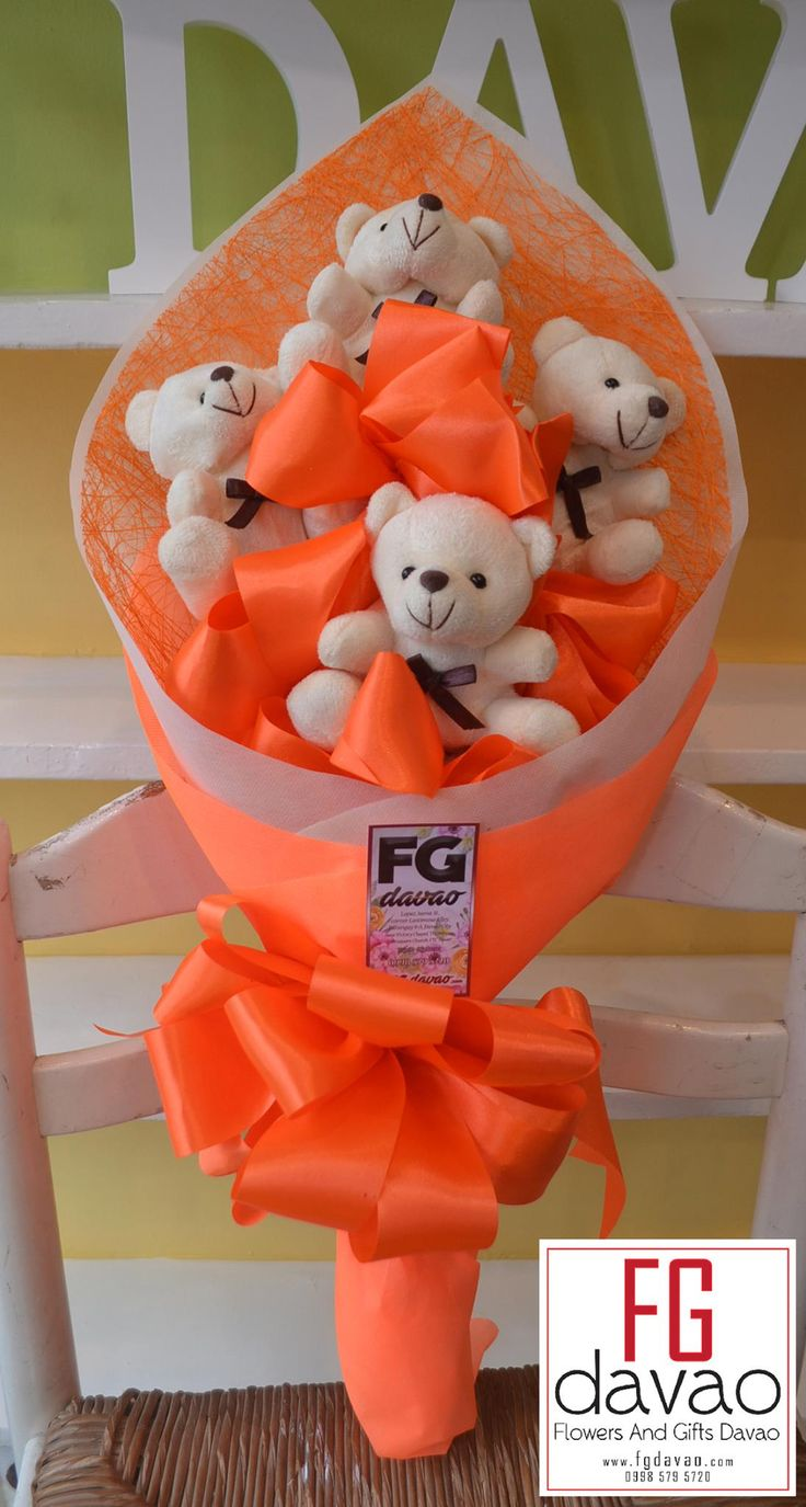 4pc Orange Themed Bear Bouquet - 850php  #giftsdavao #giftsph #nationwidedelivery #giftdelivery #fgdavao