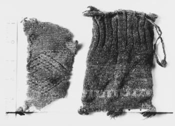 17th-18th Century. Gunnister Man find. Museum link to both the pouch and another piece of fabric. Note diamond pattern formed by twists.