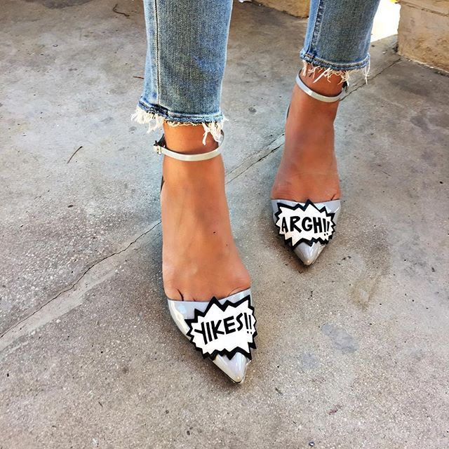 Slogan shoes + frayed edge jeans = the best combo #AsSeenOnMe
