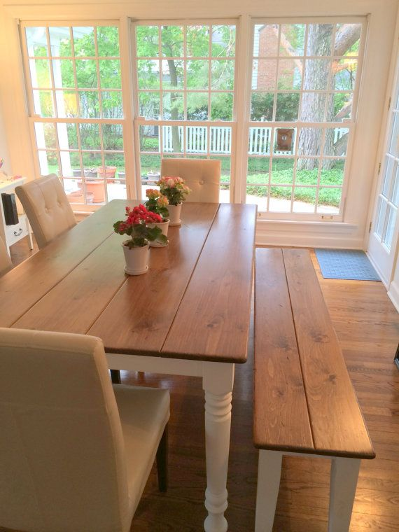 Dining Room Table Farm Table Farmhouse Table Bench by KKFurniture, $1848.00 Just shipped this set to Illinois and go a pic back from the happy homeowner! What a pretty setting!!