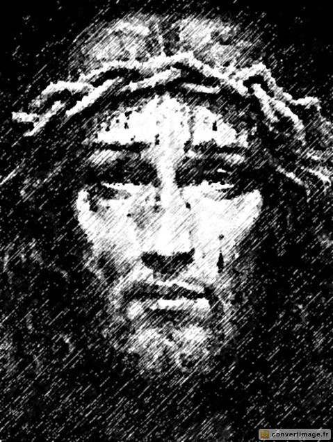 Dessin à la main de Jesus portant une couronne d'épines → ConvertImage.ME