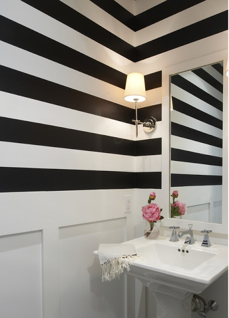 love the black and white striped walls, eventually do board and baton walls in powder room