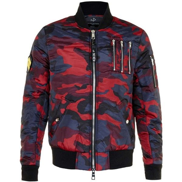 Topman The New Designers Red Camo Padded Ma1 Jacket 180