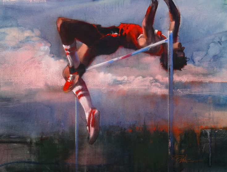 Bob Peak :: Golden Moments: The Fosbury Flop, 1984