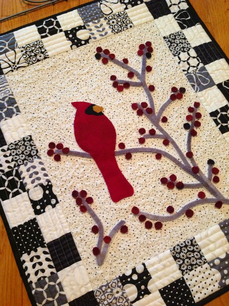 Redbird and Berries with Wool bird, stems and berries.  This is so fast, simple and fun!!  I'm thinking about using a French General Charm pack to do it again -- love, love, love!!
