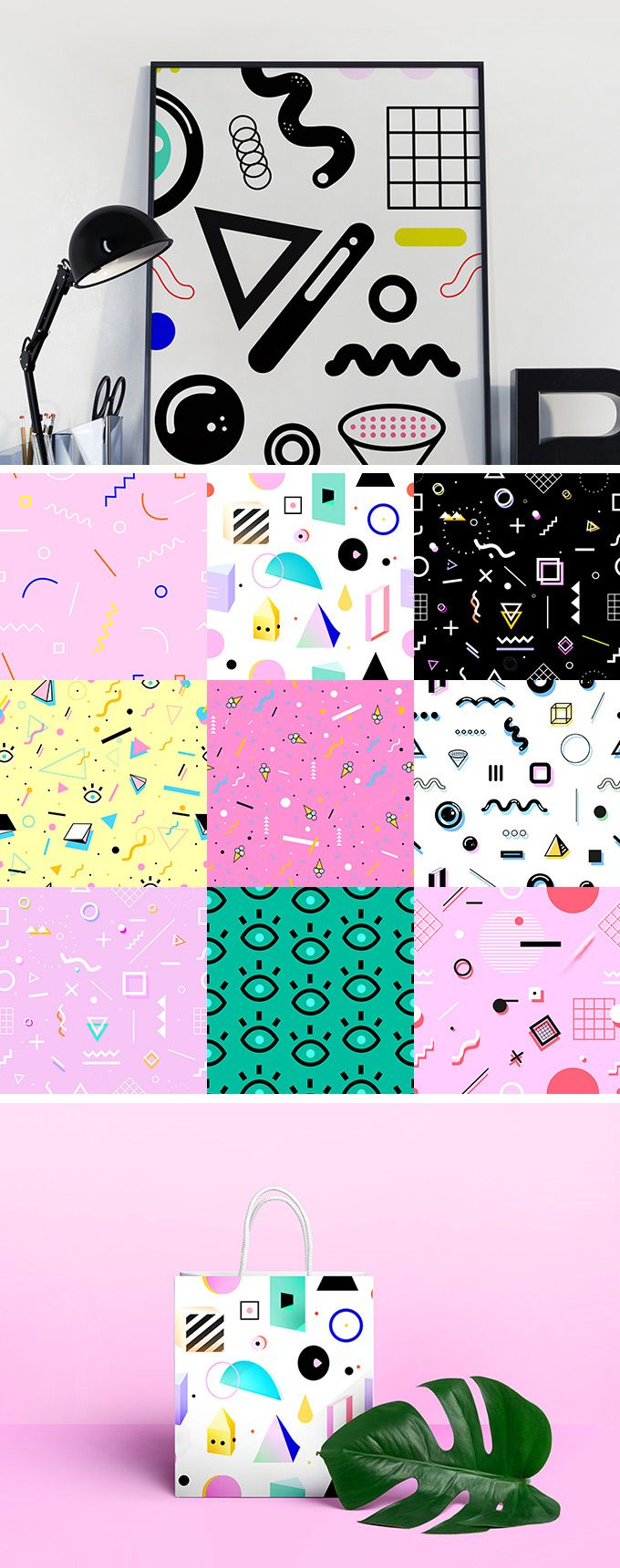 Geometric 80's Style Patterns - download freebie by PixelBuddha