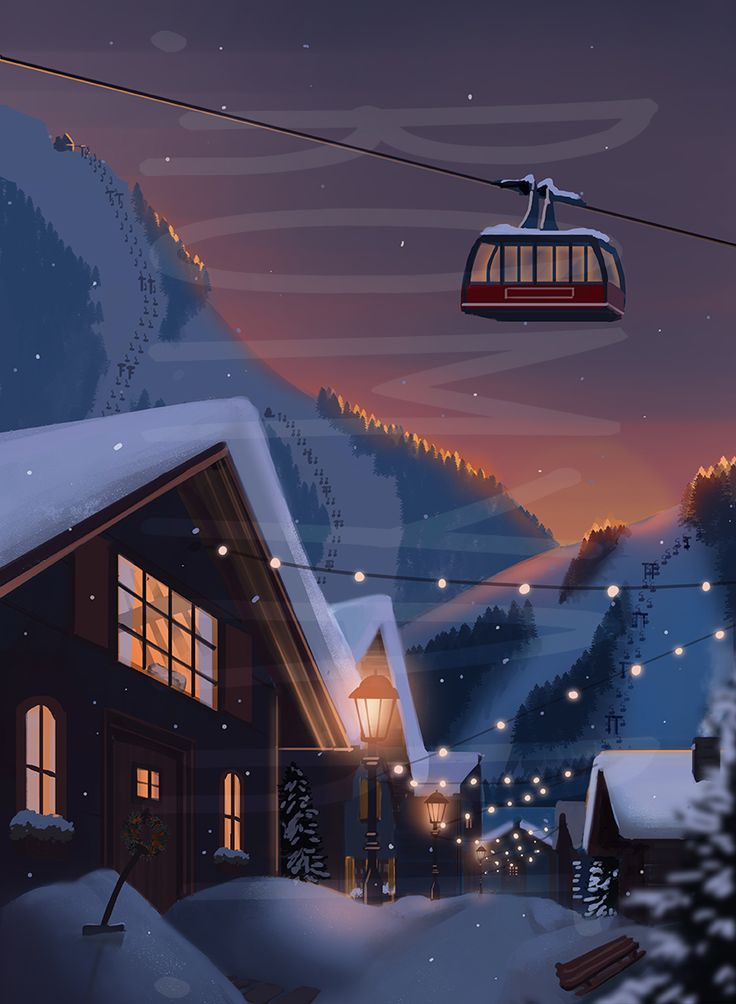 Ski Village in de snowy mountains. I can't wait to go skiing again!  You can find this illustration in my book: Where is my book?