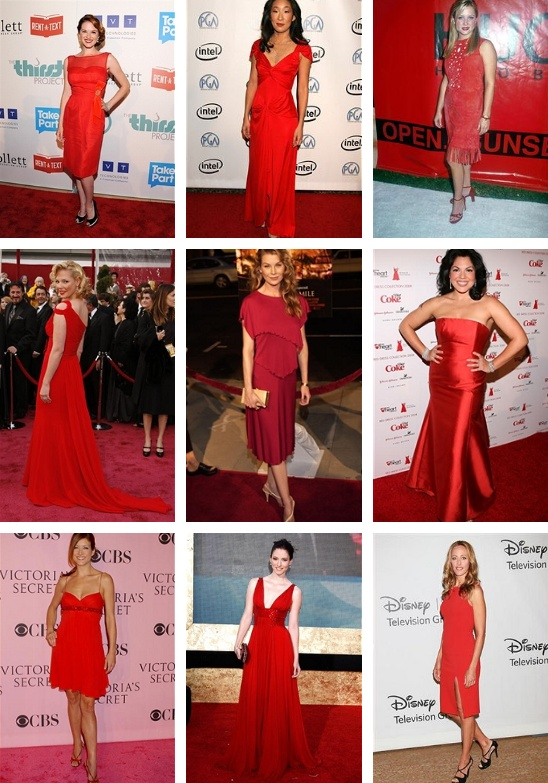 the Grey's Anatomy ladies in red dresses <3