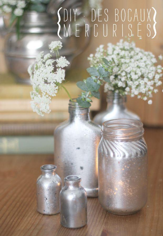 Effet verre mercurise: peinture miroir, vinaigre blanc et papier absorbant