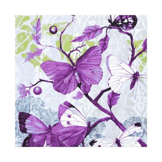 Purple home decor is absolutely adorable no matter if you like pale purple, lavender, lilac, magenta or violet purple home decor.  A purple themed home is easy to achieve by using purple wall art, purple throw pillows, purple throw blankets and purple area rugs.  Use this along with other purple wall art to create a relaxing, funky home decor theme #purple  Purple Butterflies on a Branch Canvas Print