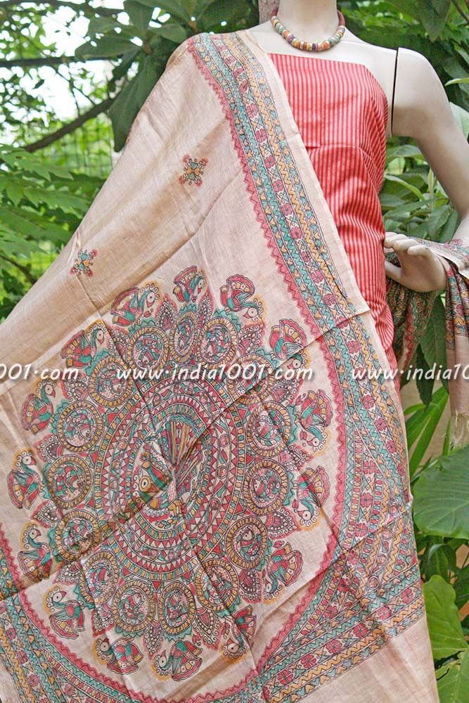 Stunning Silk unstitched suit fabric with Madhubani Art Dupatta | India1001.com