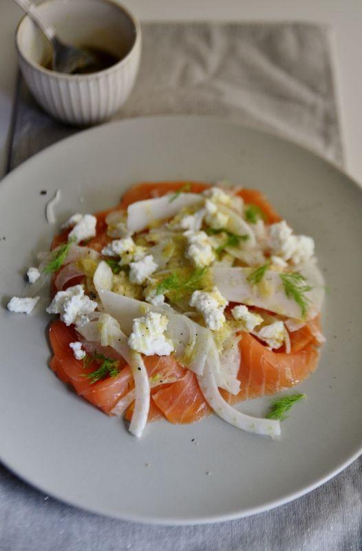 Salade au saumon fumé, fenouil et ricotta