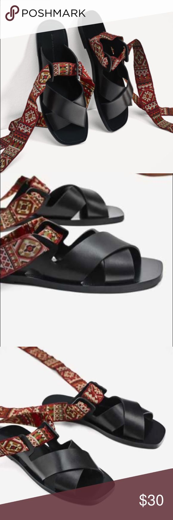 Zara Black Leather Sandals with Ribbon Tie sz 37 Zara Black Leather Sandals with Ribbon Tie sz 37 Why you need this: Multi Print is right on trend for Spring '18. Versatile straps allow you to tie up the leg, around the ankle, or create whatever style you like! Zara Shoes Sandals