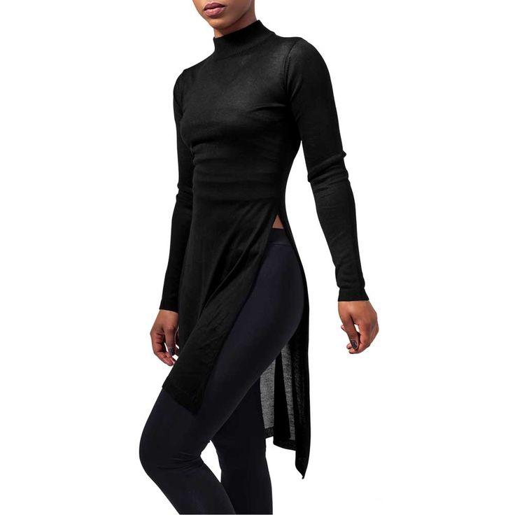 Fine dames lange shirt met lange mouwen en split zwart