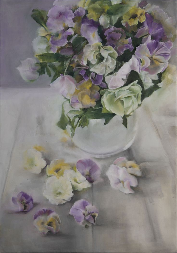 'Shining Light', oil painting of beautiful pansies in a glass vase by Trish Mitchell