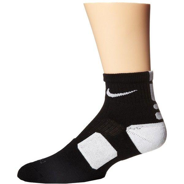 Nike Elite Basketball HQT (Black/White/White) Quarter Length Socks (£11) ❤ liked on Polyvore featuring intimates, hosiery, socks, low cut socks, white hosiery, black and white socks, moisture wicking socks and black white socks