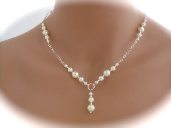 Bridal Jewelry Bridal Necklace Ivory Pearl by Clairesparklesbridal