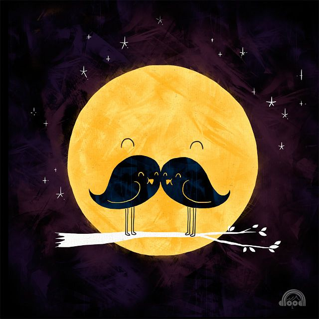 Moonstache: Happy Friday, Birds Illustrations, Moustache, Moon, Little Birds, Mustache, Girls Rooms, Two Birds, The Moon