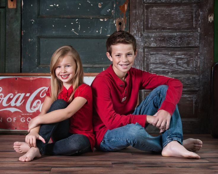 studio portraits, siblings, brother & sister, coca-cola sign