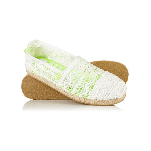Superdry Jetstream Lace Espadrilles ($25) ❤ liked on Polyvore featuring shoes, sandals, white, slip on espadrilles, stitch shoes, white espadrilles, white sandals and slip on shoes