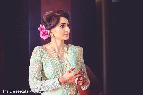 Indian bride glowing in her wedding attire. http://www.maharaniweddings.com/gallery/photo/85361