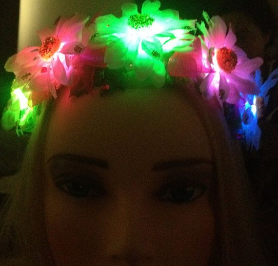 Daisy Rainbow Light Up Headband by ElectricAveCreations on Etsy for the glow run?!!